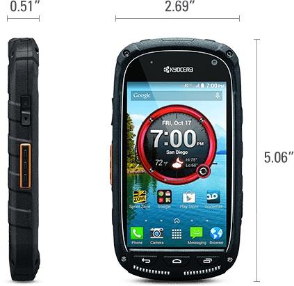 Kyocera TorqueXT Smartphone Size