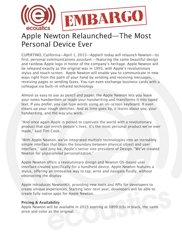 Apple Newton Relaunched -- The Most Personal Device Ever