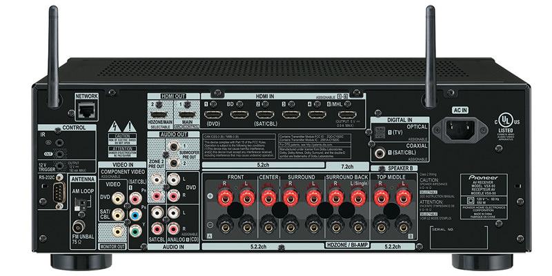 Pioneer Elite VSX-90 A/V Receiver back