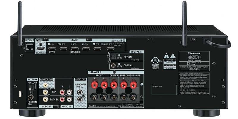 Pioneer VSX-830 A/V Receiver Back