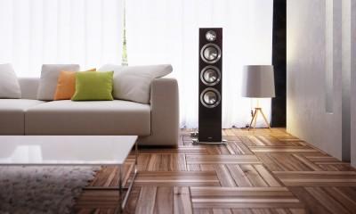 Paradigm Prestige 95F Loudspeaker by sofa