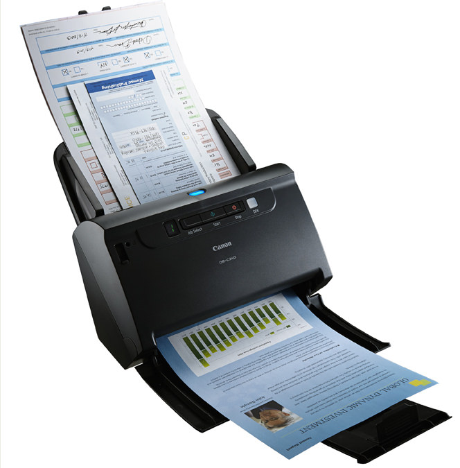 Canon DR-C240 Scanner with paper