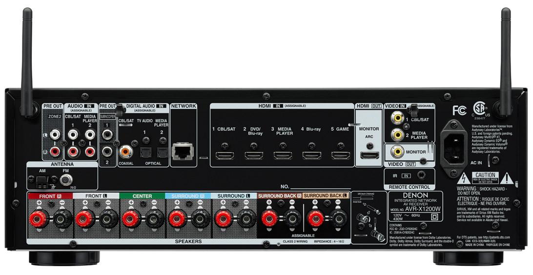 Denon AVR-X1200W A/V Receiver Back