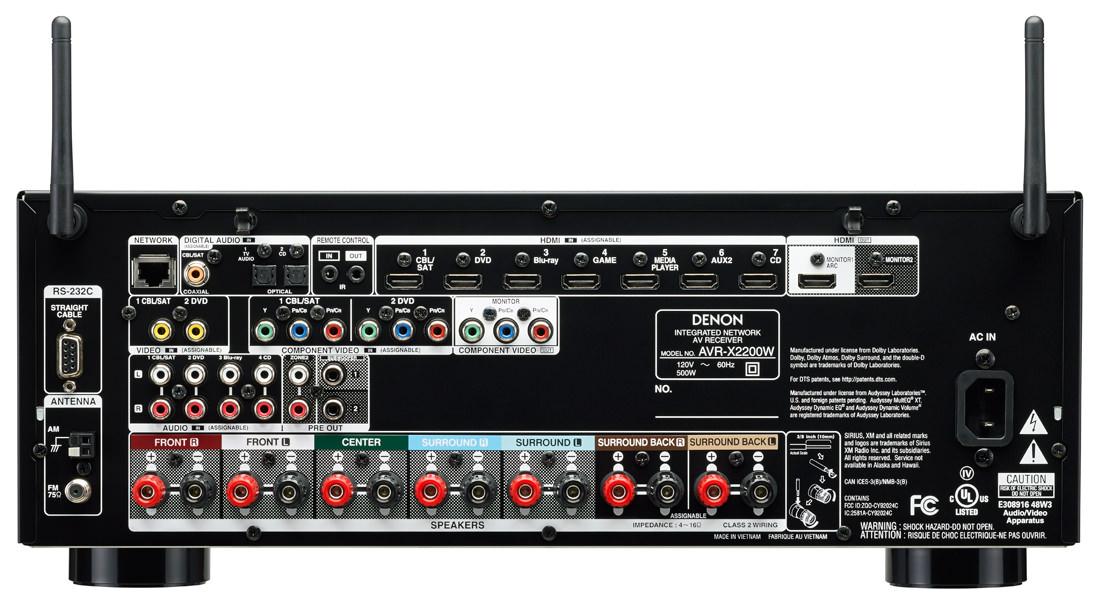Denon AVR-X2200W A/V Receiver Back