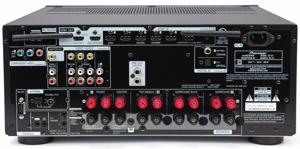 Pioneer Elite SC-91 A/V Receiver Rear