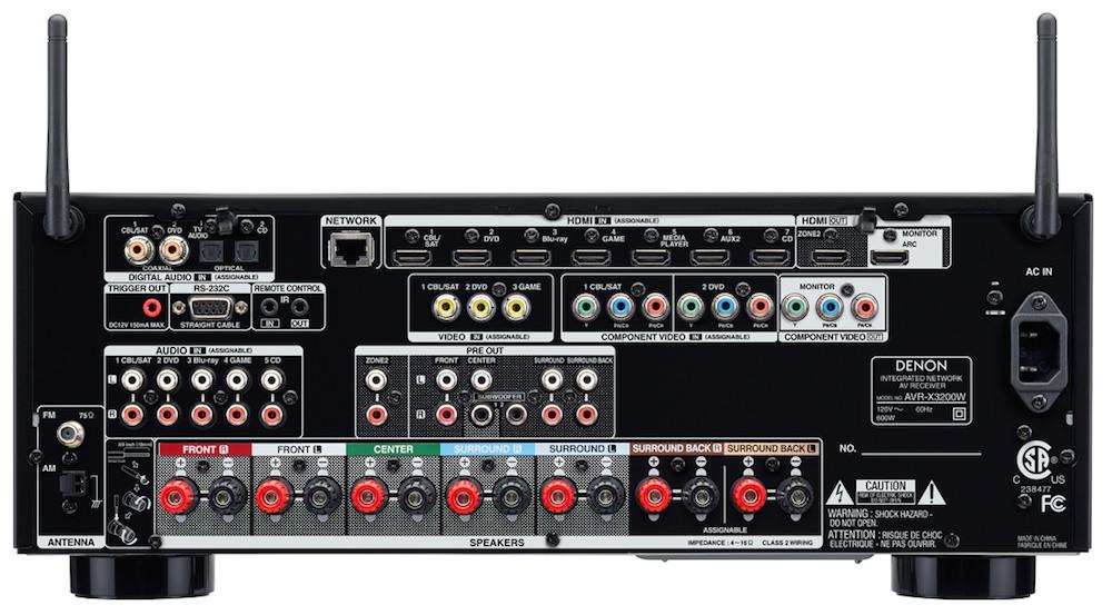 Denon AVR-X3200W Rear