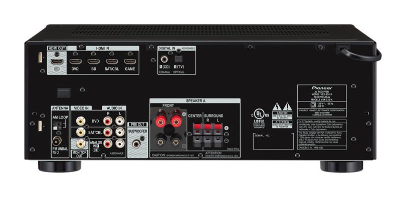 Pioneer VSX-530-K A/V Receiver - back