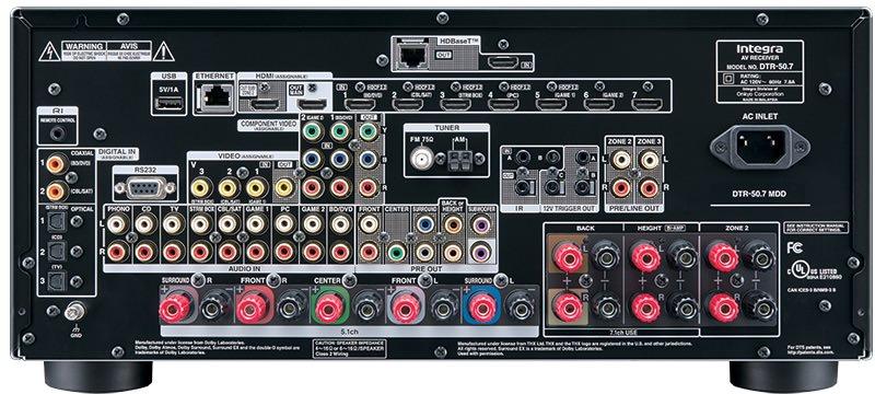 Integra DTR-50.7 A/V Receiver - Back