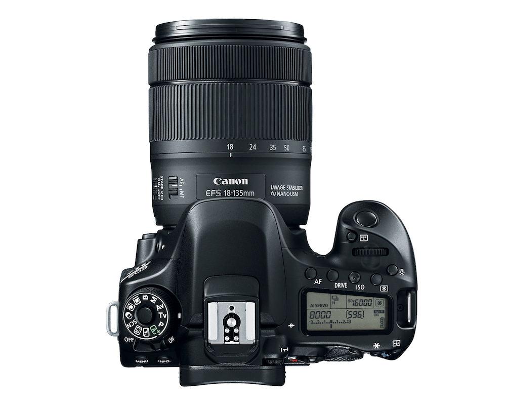Canon EOS 80D DSLR camera - Top View