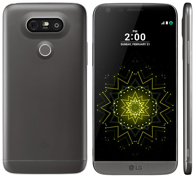 LG G5 - back, front, side views