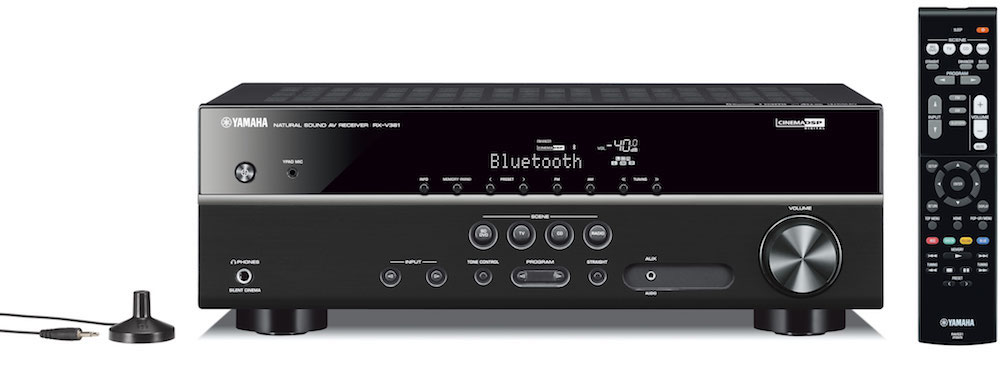 Yamaha RX-V381 A/V Receiver -front with remote