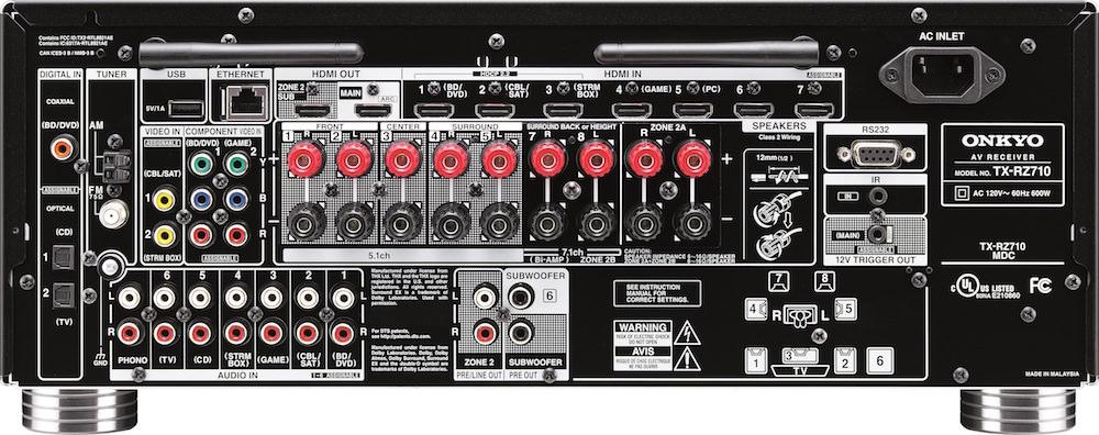 Onkyo TX-RZ710 A/V Receiver - Back
