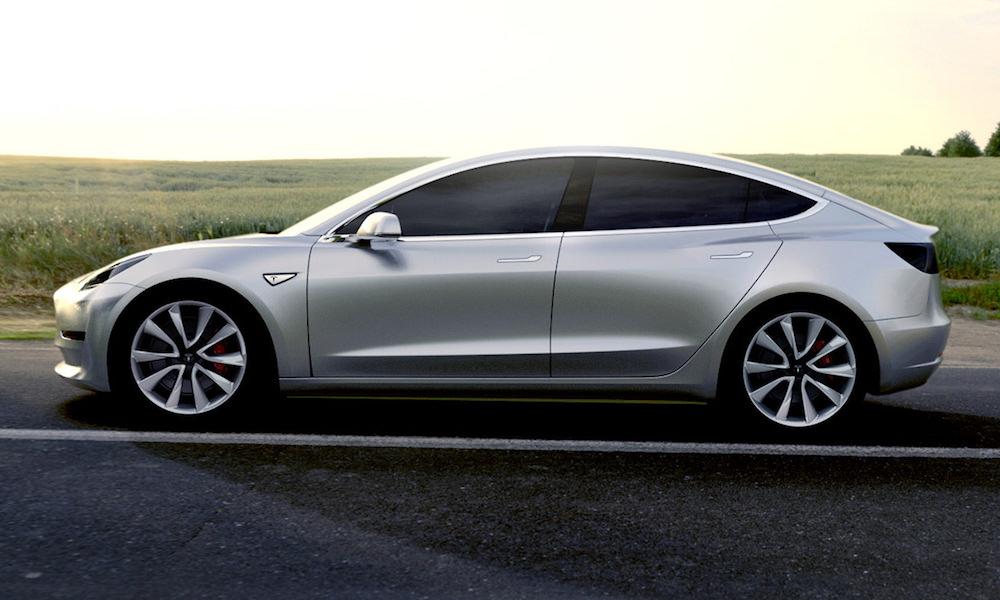 Tesla Model 3 Silver - Side View