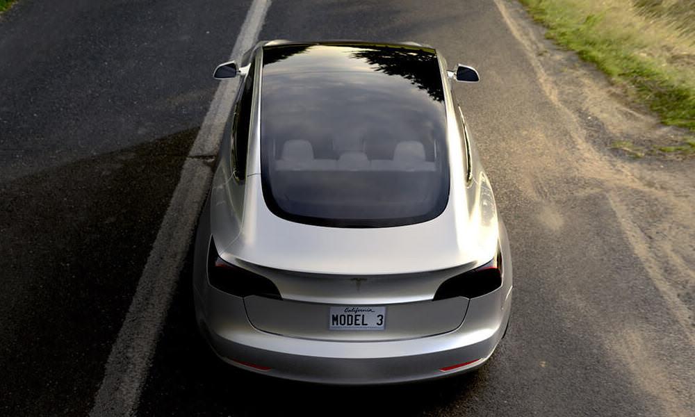 Tesla Model 3 Silver - Top View Behind