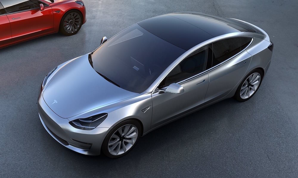 Tesla Model 3 Silver - Top View Front Angle