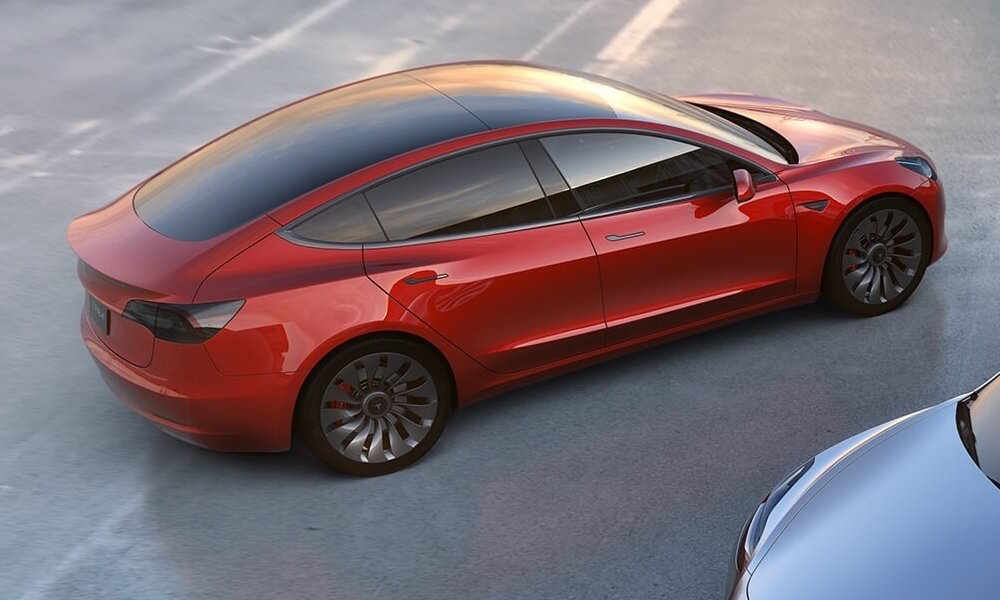 Tesla Model 3 Red - Top Back