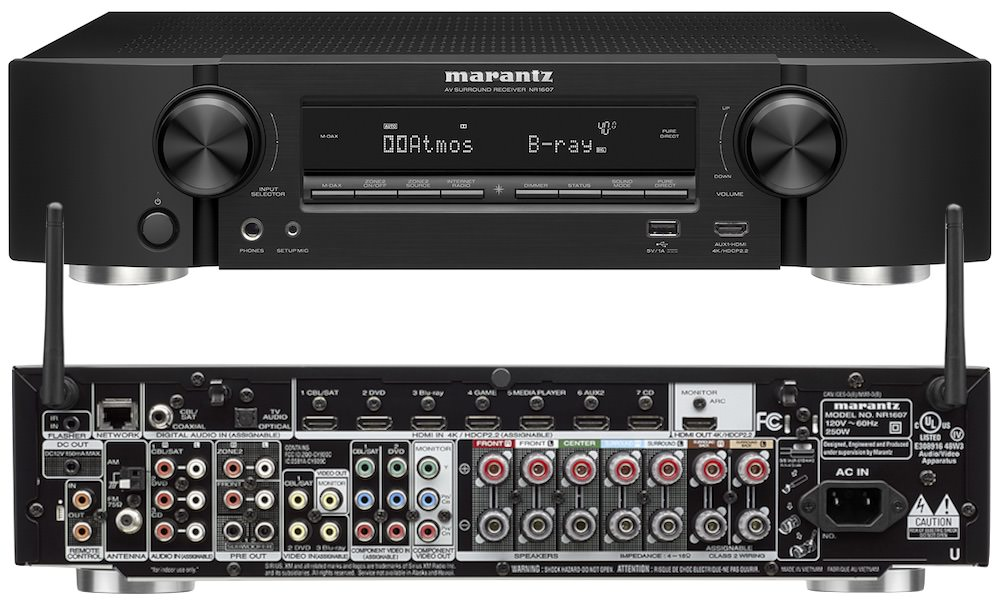 Marantz NR1607 AV Receiver - Front and Back