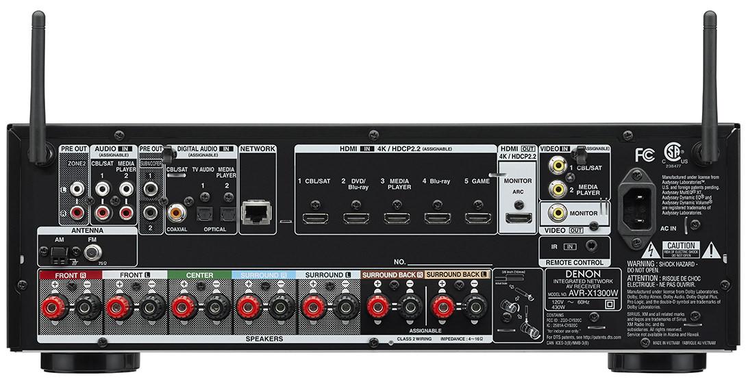 Denon AVR-X1300W - Rear