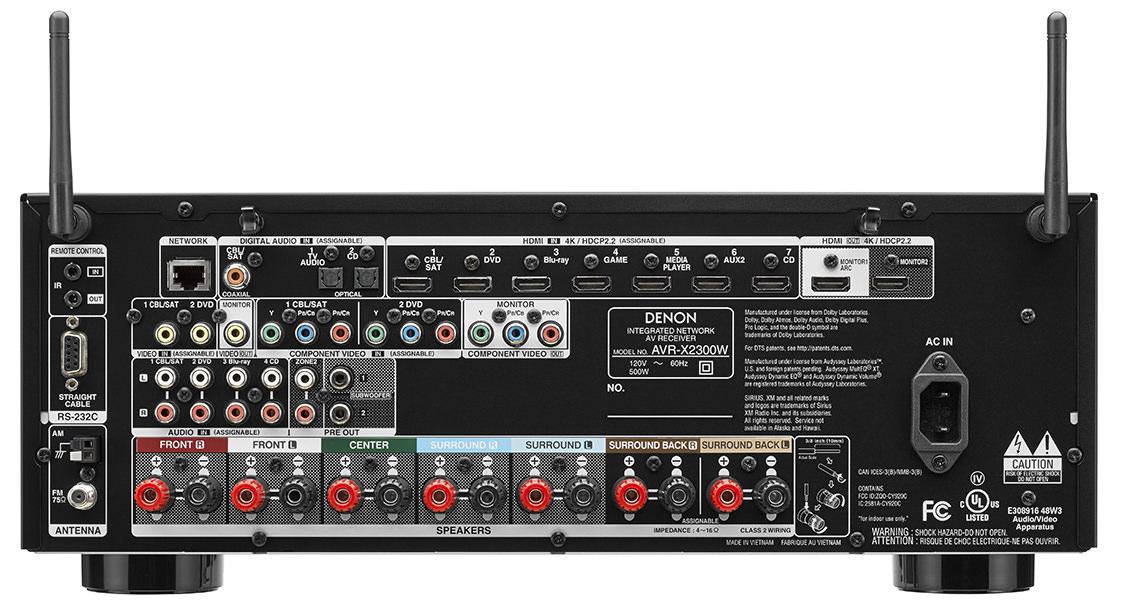 Denon AVR-X2300W - Rear