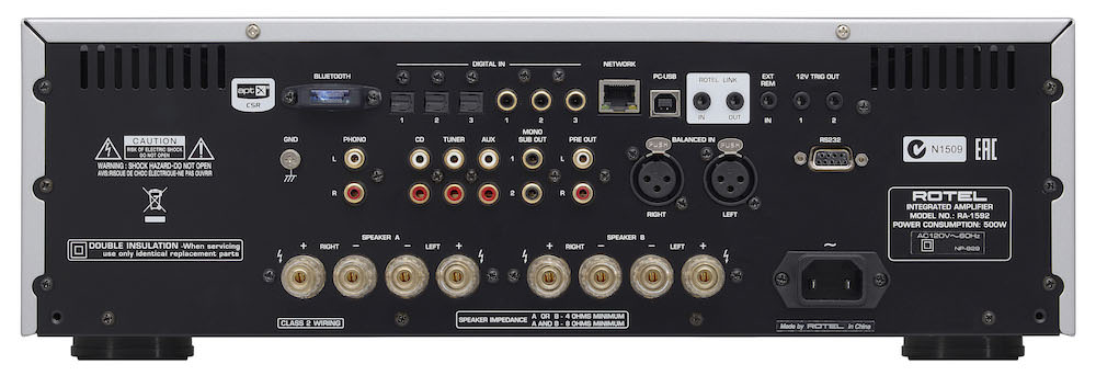 Rotel RA-1592 Stereo Integrated Amplifier - Back View