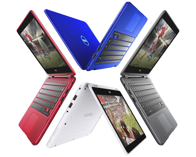 Four Dell Inspiron 11 3000 Series (Model 3168, Drax) Touch 11-inch notebook computers arranged in a circle, from left to right, model open over 90 degrees, facing left, model open over 180 degrees, with screen facing left, model open over 90 degrees with screen facing right, and model open over 180 degrees with screen facing right.