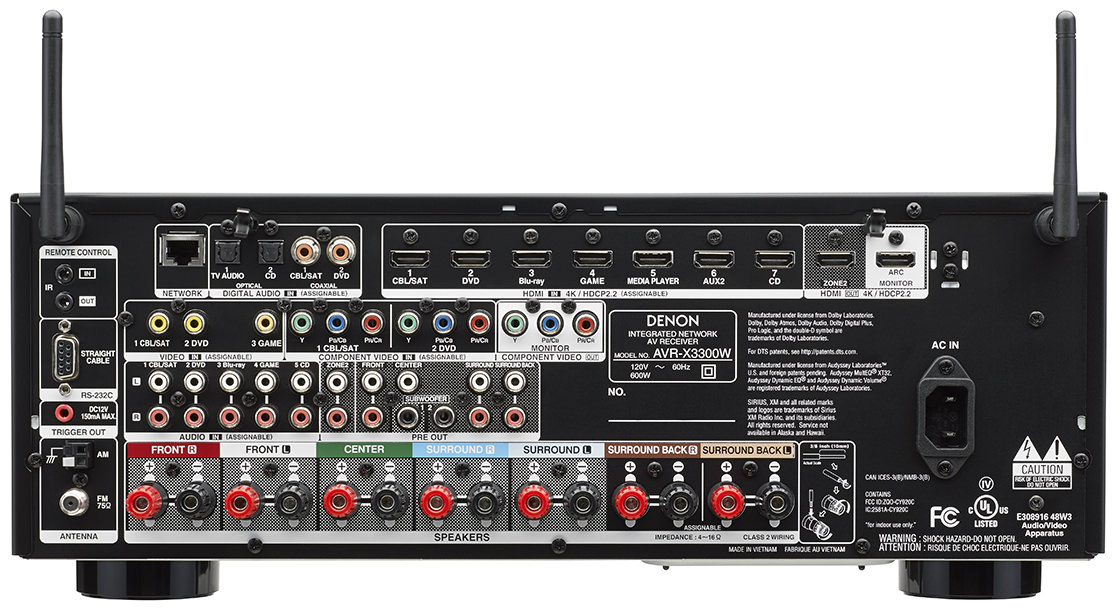 Denon AVR-X3300W A/V Receiver - Rear