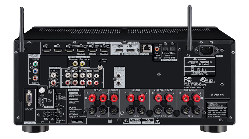 Pioneer Elite SC-LX501 A/V Receiver rear view
