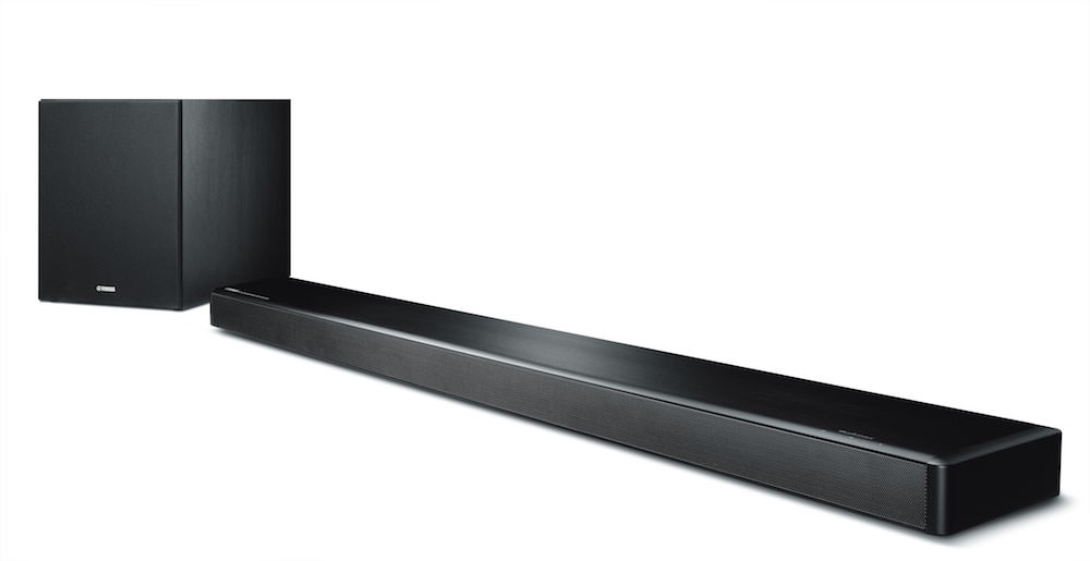 Yamaha YSP-2700 sound bar and wireless subwoofer angle view