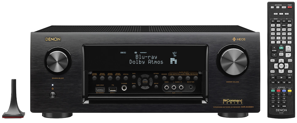 Denon AVR-X4300H A/V Receiver Front View with Remote