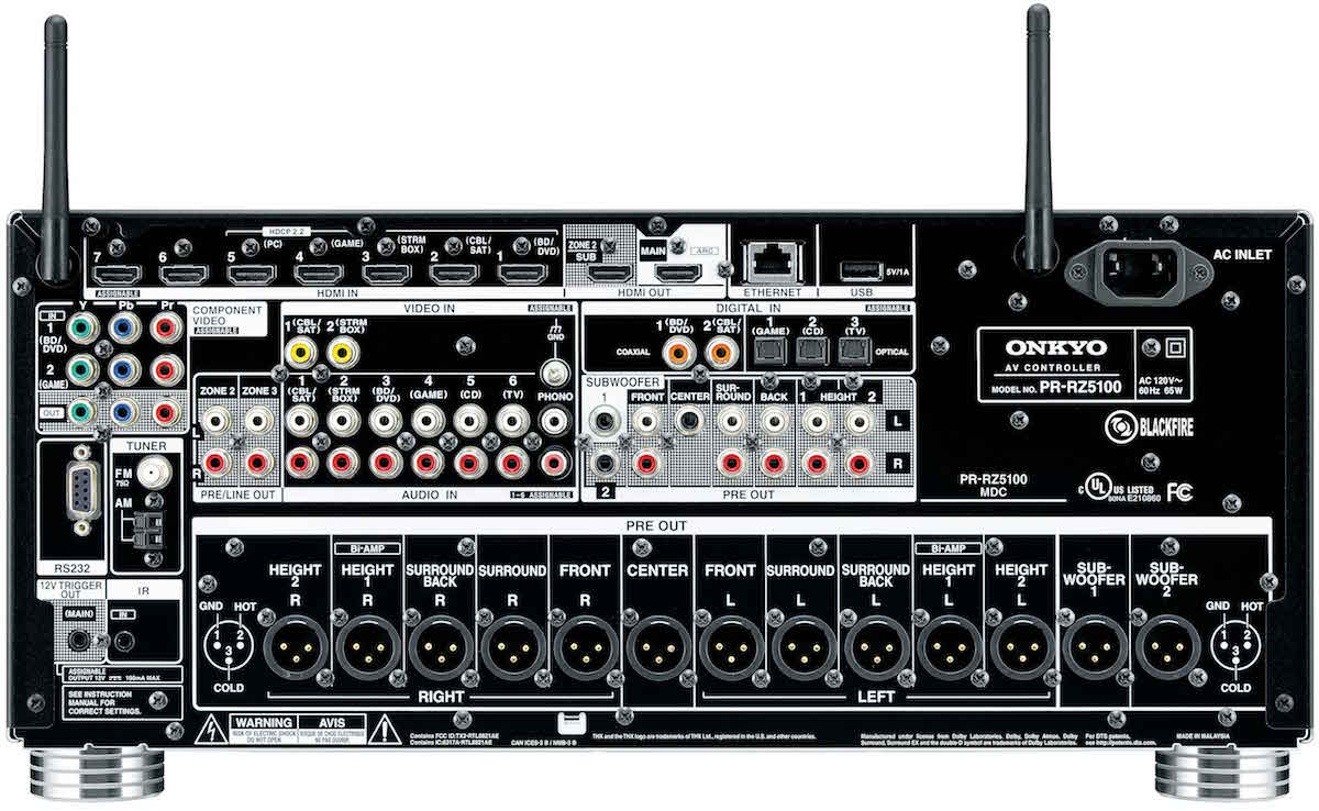 Onkyo PR-RZ5100 Network A/V Controller Rear