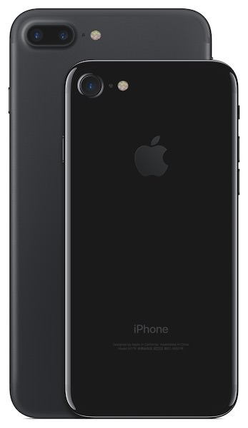 Apple iPhone 7 and 7 Plus in Jet Black Rear View