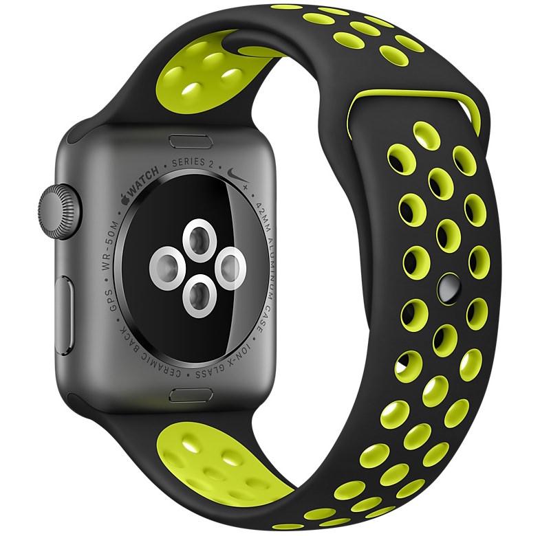 Apple Watch Nike+ Smartwatch in Black/Volt Colors Back Inside