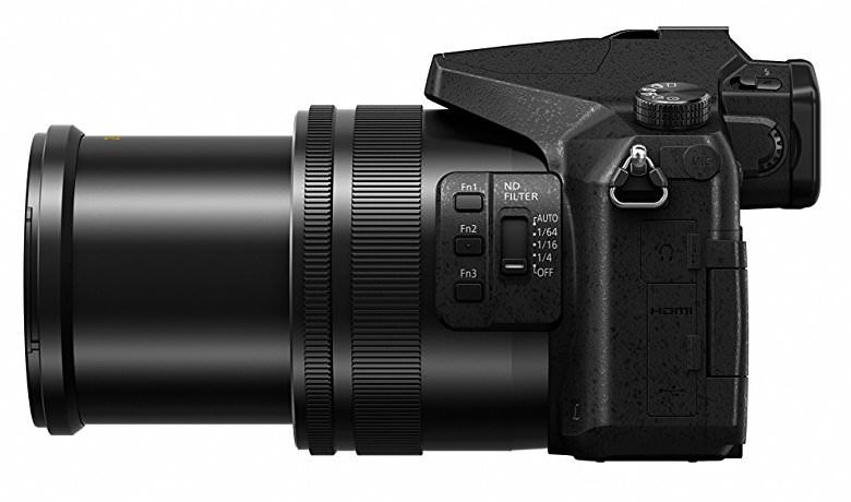 Panasonic LUMIX DMC-FZ2500 side view zoom