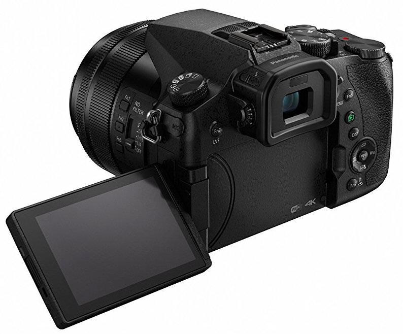 Panasonic LUMIX DMC-FZ2500 back angle view with LCD flip out