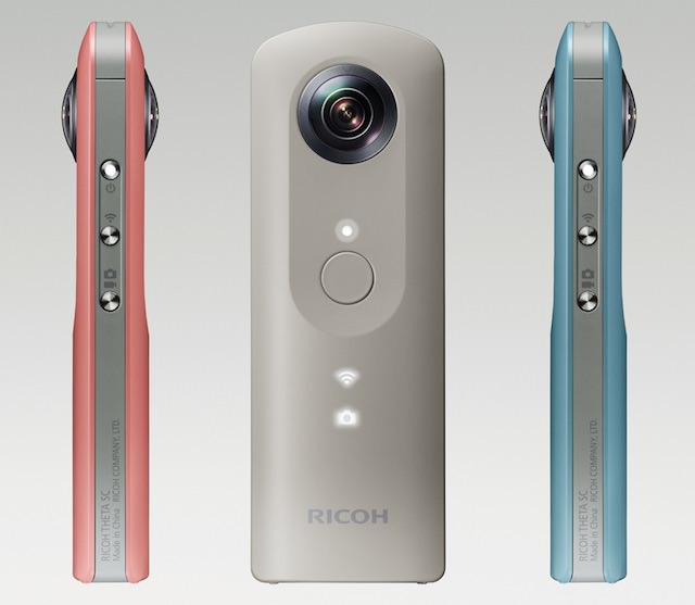 Ricoh Theta SC 360-degree camera front and side views