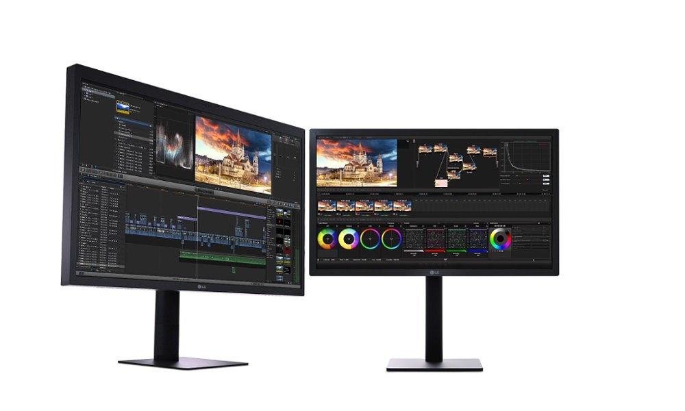 LG UltraFine 5K and 4K Monitors (27-inch left, 21.5-inch right)