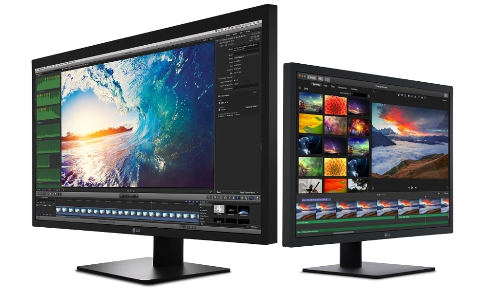 LG UltraFine 5K and 4K Monitors (27-inch left, 21.5-inch right) angle view