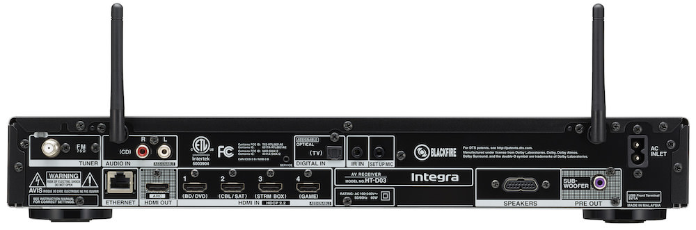 Integra HT-D03 Slim A/V Receiver Rear View