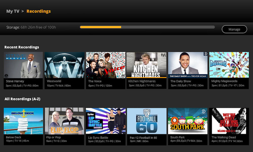 SlingTV Cloud DVR Menu Screen