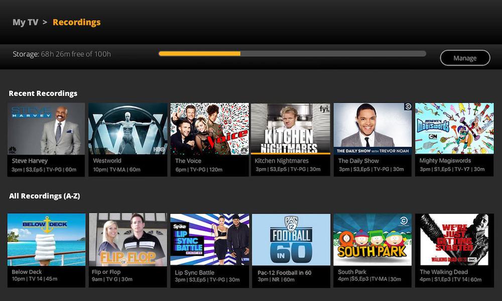 SlingTV Cloud DVR Menu Screen