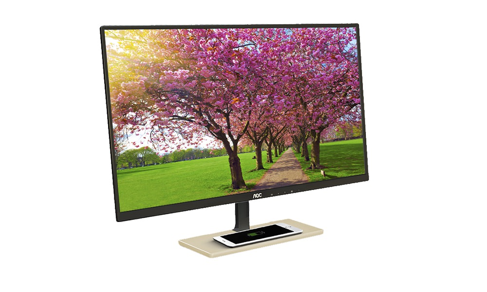 AOC P2779VC PLS Monitor with Qi Wirless Charging Base