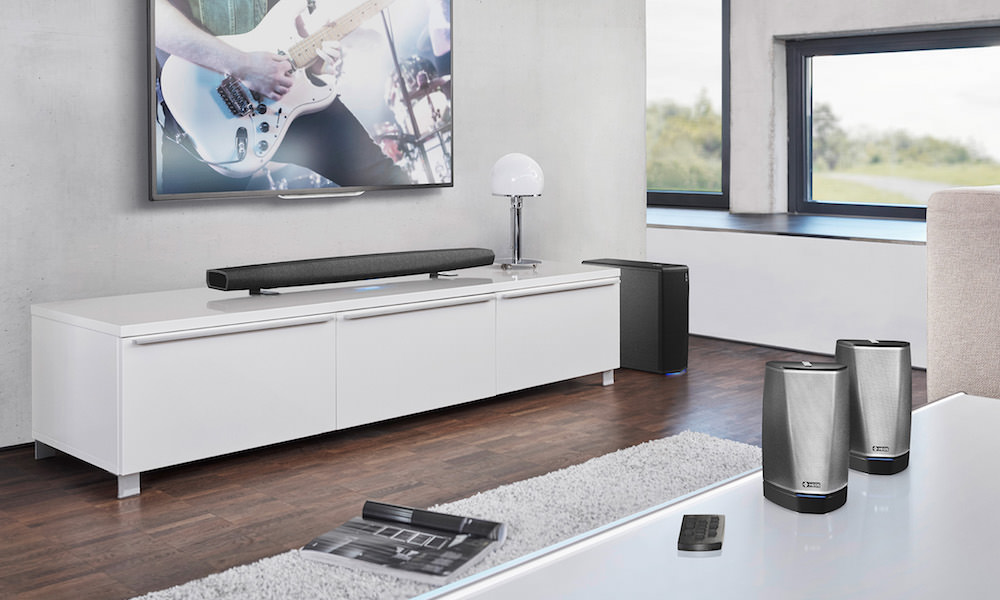 Denon HEOS Bar and Wireless Subwoofer Lifestyle Photo