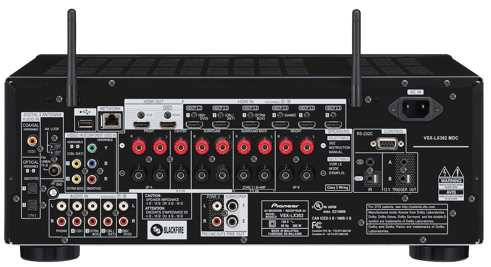 Pioneer Elite VSX-LX302 Back View