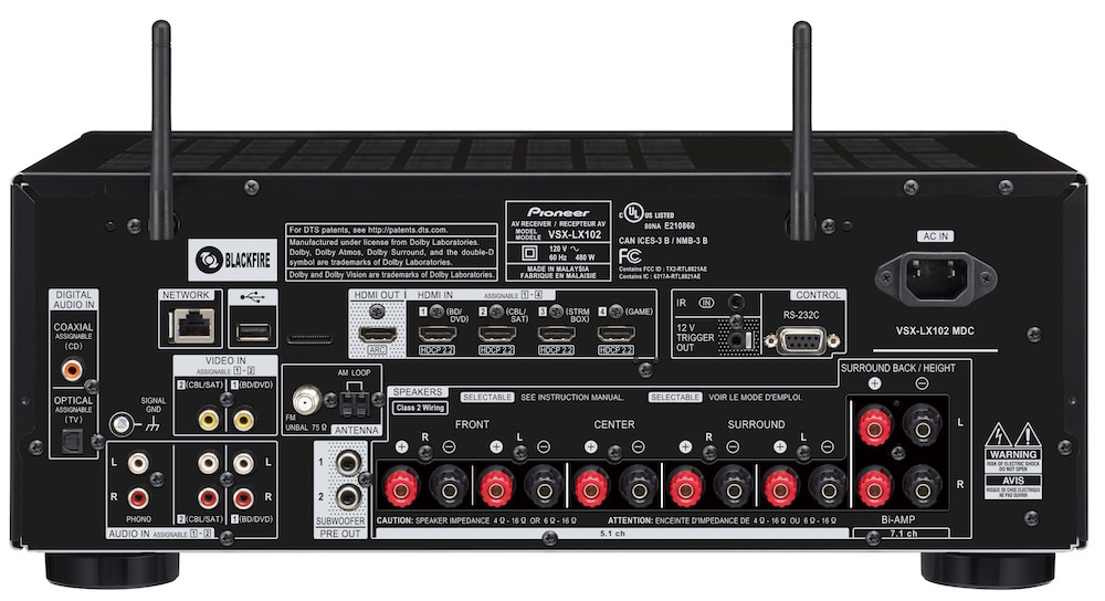 Pioneer Elite VSX-LX102 Back View