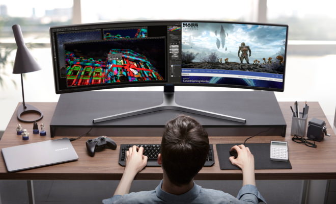 Samsung C49HG90 QLED Gaming Monitor on desk