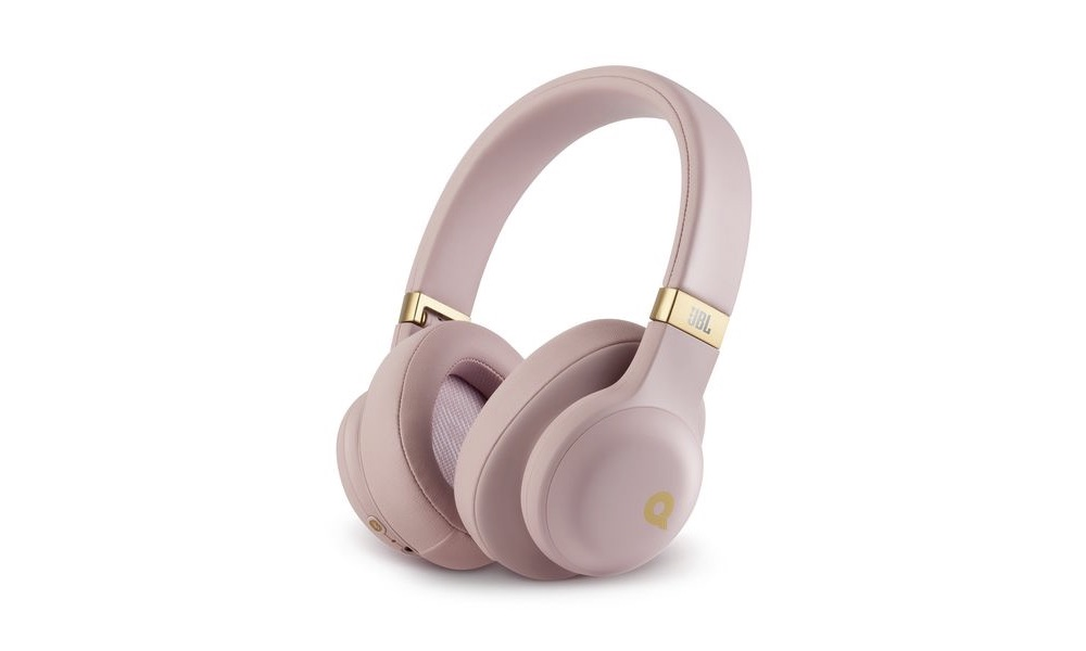 JBL E55BT Quincy Edition Wireless Headphones in Dusty Rose Color