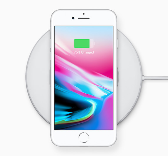 Apple iPhone 8 on wireless charger