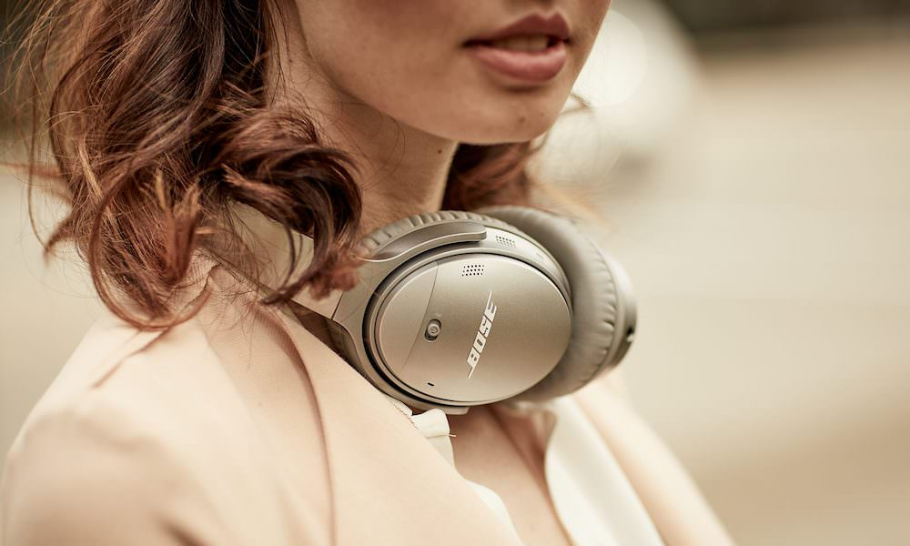 Bose QC 35 II Wireless Headphones around neck in silver