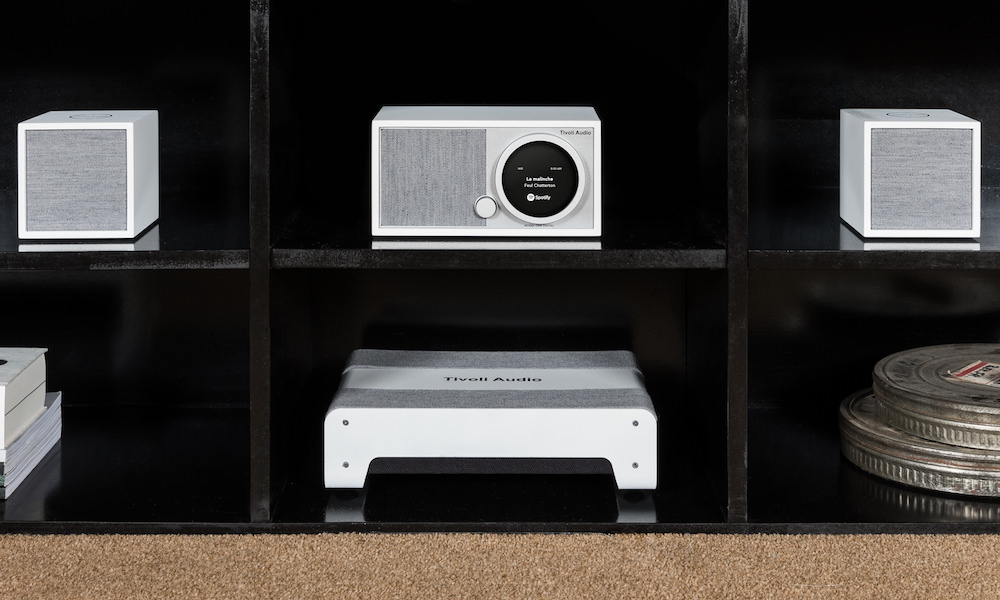 Tivoli Audio Model Sub laying flat in cabinet white/grey