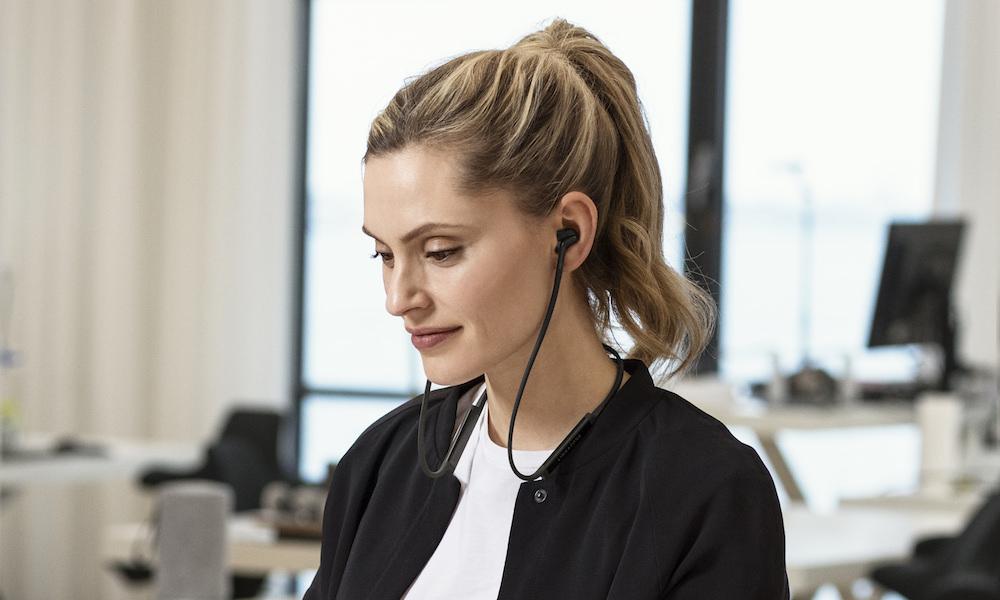 Libratone TRACK+ In-Ear Wireless Earphones (Stormy Black) on woman